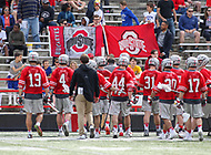 College Park, MD - April 22, 2018: Ohio State Buckeyes fans celebrate during game between Ohio St. and Maryland at  Capital One Field at Maryland Stadium in College Park, MD.  (Photo by Elliott Brown/Media Images International)