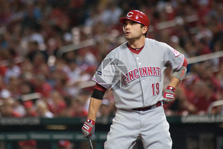 22 April 2011                             Cincinnati Reds first baseman Joey Votto (19) during his first at-bat of the game. The St. Louis Cardinals hosted the Cincinnati Reds on Friday April 22, 2011 in the first game of a three-game series at Busch Stadium in downtown St. Louis.