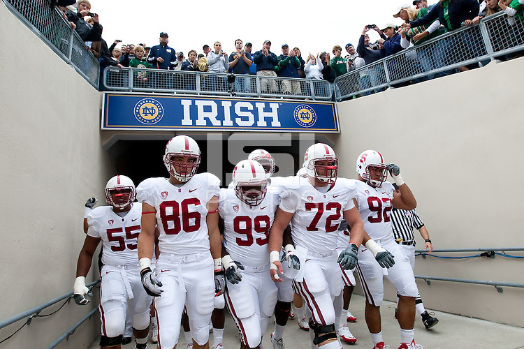 STANFORD, CA - September 25, 2010: Team during a football game against Notre Dame at Notre Dame Stadium in South Bend, Indiana. Stanford won 37-14.