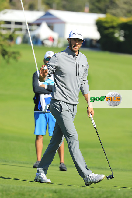 Dustin Johnson (USA) in action at Pebble Beach Golf Links during the third round of the AT&amp;T Pro-Am, Pebble Beach Golf Links, Monterey, USA. 09/02/2019<br /> Picture: Golffile | Phil Inglis<br /> <br /> <br /> All photo usage must carry mandatory copyright credit (&copy; Golffile | Phil Inglis)