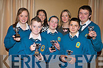 WINNERS: Students from mercy Mounthawk Secondary School won first place at the Religion Quiz in the Fel's Point Hotel on Tuesday. From front l-r were: Shane Cleary, Sarah Guerin and Ethan Cronin. Back l-r were: Sadhbh Baker, Katherina Baker (Organiser), Veronica Hunt (Teacher) and Adam Walsh.    Copyright Kerry's Eye 2008