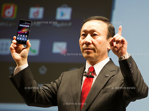 January 22, 2013, Tokyo, Japan - Kaoru Kato, President and CEO of NTT DOCOMO, INC., speaks during a news conference about the company's 'Next series' smartphones for the Japanese market. NTT DOCOMO presented their 2013 spring lineup of 12 models which includes 11 smartphones, tablets and a mobile Wi-Fi router. The new lineup of mobile devices will launch of January 25. (Photo by Christopher Jue/Nippon News)