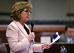 Nevada Assemblywoman Marilyn Dondero Loop, D-Las Vegas, speaks on the Assembly floor at the Legislative Building in Carson City, Nev., on Friday, May 24, 2013. <br /> Photo by Cathleen Allison