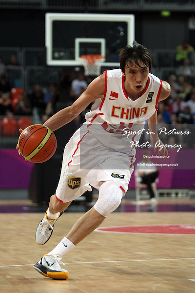 Li Yi (China) in action. Serbia v China. The London International Basketball Invitational. London Prepares for Olympics 2012. Basketball Arena, Olympic Park. London. 17/08/2011. MANDATORY Credit Sportinpictures/Paul Chesterton - NO UNAUTHORISED USE - 07837 394578.