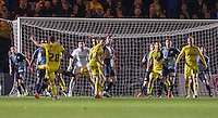 Chris Maguire of Oxford United hits a shot at goal during the Sky Bet League 2 match between Wycombe Wanderers and Oxford United at Adams Park, High Wycombe, England on 19 December 2015. Photo by Andy Rowland.