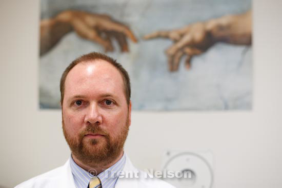 Trent Nelson  |  The Salt Lake Tribune.Larry Meyer and Michael Battistone are two doctors featured in a story about mysterious illnesses suffered by veterans. Please meet Dr. Meyer at his office, Room 2B03 (center of the second floor) at 10 a.m.; then meet Dr. Battistone at 10:30 at the entrance to the building. Any problems, call Jill Atwood at 801-330-1198.    Salt Lake City, Tuesday, January 12, 2010.