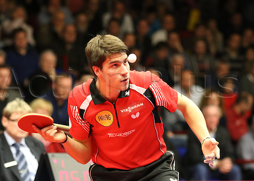 30.10.2015. Arag Centrecourt, Dusseldorf, Germany. Champions League Table Tennis. Group stage. Group D. Game 3. Borussia Dusseldorf versus Sten HB Ostrov. Finding his groove, Patrick Franziska serving to Masataka Morizono in game 4.