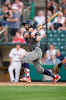 Lehigh Valley IronPigs center fielder Collin Cowgill (7) follows through on a swing during a game against the Rochester Red Wings on June 30, 2018 at Frontier Field in Rochester, New York.  Lehigh Valley defeated Rochester 6-2.  (Mike Janes/Four Seam Images)
