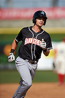 Jupiter Hammerheads shortstop Justin Bohn (13) runs the bases after hitting a home run during the first game of a doubleheader against the Clearwater Threshers on July 25, 2015 at Bright House Field in Clearwater, Florida.  Jupiter defeated Clearwater 8-5.  (Mike Janes/Four Seam Images)
