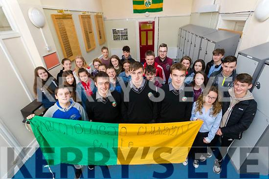Ryan Ó Néill, Diarmuid Ó Conchúir and Dylan Ó Cathasaigh, Kerry Minors attending Gaelcholáiste Chairraí, with Junior Certificate students on Wednesday morning last.