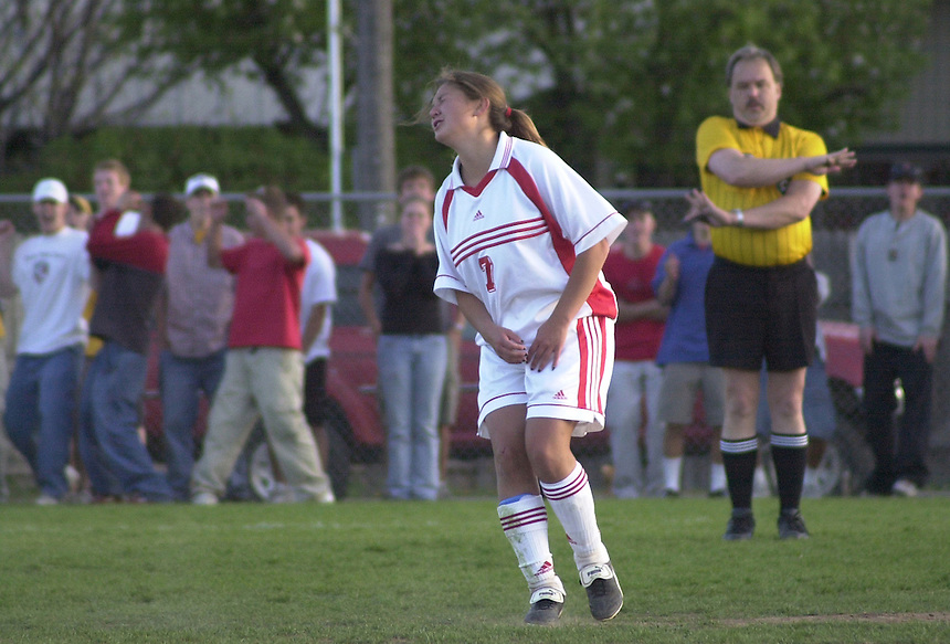 May 2002: A Durango High School soccer player reacts to missing a goal in a shootout in the first round of the Colorado state soccer playoffs.