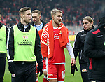 01.12.2018, Stadion an der Wuhlheide, Berlin, GER, 2.FBL, 1.FC UNION BERLIN  VS.SV Darmstadt 98, <br /> DFL  regulations prohibit any use of photographs as image sequences and/or quasi-video<br /> im Bild Union-Spieler, Sebastian Polter (1.FC Union Berlin #9), Sebastian Andersson (1.FC Union Berlin #10),Julian Ryerson (1.FC Union Berlin #6)<br /> <br />      <br /> Foto &copy; nordphoto / Engler