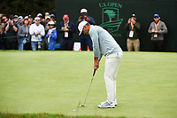 Brooks Koepka (USA) sinks his birdie putt on 3 during round 4 of the 2019 US Open, Pebble Beach Golf Links, Monterrey, California, USA. 6/16/2019.<br /> Picture: Golffile | Ken Murray<br /> <br /> All photo usage must carry mandatory copyright credit (© Golffile | Ken Murray)
