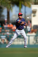 Minnesota Twins shortstop Engelb Vielma (1) throws to second base during a Spring Training game against the Baltimore Orioles on March 7, 2016 at Ed Smith Stadium in Sarasota, Florida.  Minnesota defeated Baltimore 3-0.  (Mike Janes/Four Seam Images)