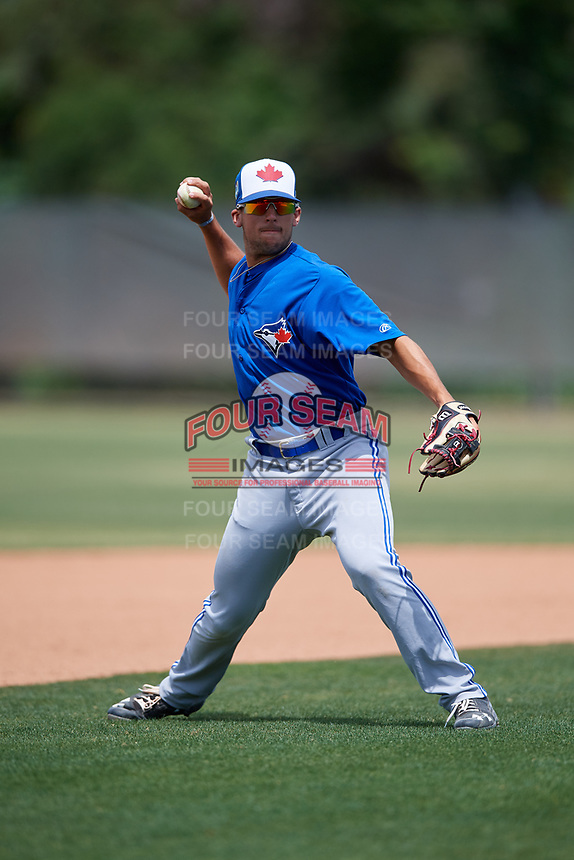 Toronto Blue Jays Kevin Smith (10) during warmups before a Minor League Spring Training game against the Philadelphia Phillies on March 30, 2018 at Carpenter Complex in Clearwater, Florida.  (Mike Janes/Four Seam Images)