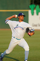 Myrtle Beach Pelicans pitcher Fernando Cruz (9) throwing in the outfield before game two of a doubleheader against the Carolina Mudcats at Ticketreturn.com Field at Pelicans Ballpark on June 6, 2015 in Myrtle Beach, South Carolina. During the game the Pelicans wore special Myrtle Beach Hurricanes throwback jerseys. The Myrtle Beach Hurricanes were a minor league team affiliated with the Toronto Blue Jays who played on the Grand Strand during the early 1990's. Carolina defeated Myrtle Beach 4-2. (Robert Gurganus/Four Seam Images)