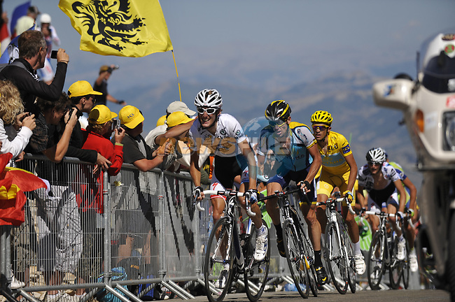 White Jersey Andy Schleck (LUX) Team Saxo-Bank, Lance Armstrong (USA) and Yellow Jersey Alberto Contador (ESP) Astana close to the finish of Mont Ventoux during Stage19 of the Tour de France 2009 running 167km from Montelimar to Mont Ventoux, France. 25th July 2009 (Photo by Eoin Clarke/NEWSFILE)
