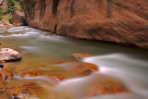 The Virgin River passes through The Narrows at Zion National Park, Utah.