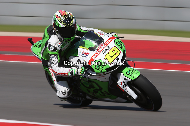 Alvaro Bautista (19) in action during the Red Bull MotoGP of the Americas practice and qualifying sessions at Circuit of the Americas racetrack in Austin,Texas. ..
