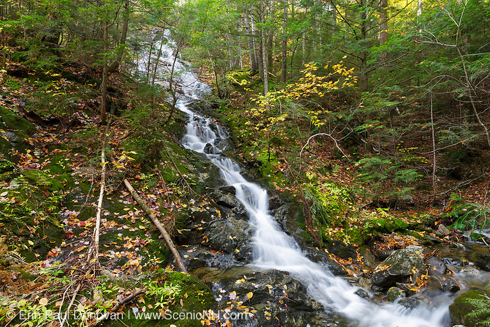 Cascade on a tributary near the headwaters of Lost River on Mount Jim in Kinsman Notch in North Woodstock, New Hampshire during the autumn months. This area was logged by the Johnson Lumber Company (Gordon Pond Railroad, in operation from 1907-1916).