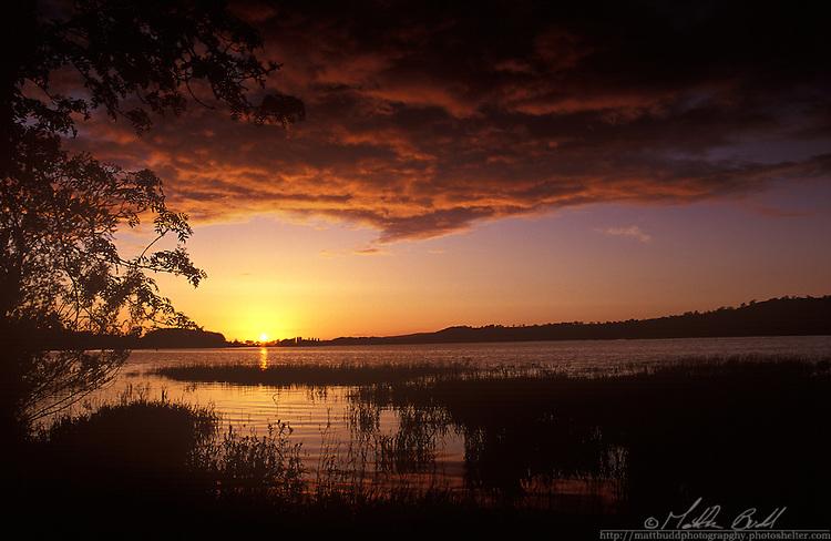 sunset over Blagdon Lake, Somerset