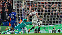 Zlatan Ibrahimovic of Paris Saint-Germain scores his goal to make it 2-1 during the UEFA Champions League Round of 16 2nd leg match between Chelsea and PSG at Stamford Bridge, London, England on 9 March 2016. Photo by Andy Rowland.