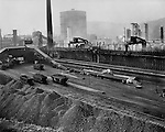 Neville Island PA:  View of the railroad yard at the Pittsburgh Coke and Chemical Plant - 1955