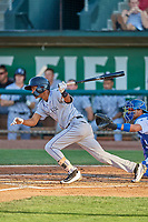 Bladimir Restituyo (7) of the Grand Junction Rockies at bat against the Ogden Raptors at Lindquist Field on August 28, 2019 in Ogden, Utah. The Rockies defeated the Raptors 8-5. (Stephen Smith/Four Seam Images)