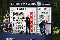 Scoreboard during the Final Round of the British Masters 2015 supported by SkySports played on the Marquess Course at Woburn Golf Club, Little Brickhill, Milton Keynes, England.  11/10/2015. Picture: Golffile | David Lloyd<br /> <br /> All photos usage must carry mandatory copyright credit (&copy; Golffile | David Lloyd)