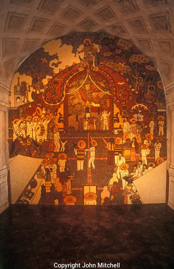 Restored mural in the Ex Convento de la Natavidad in Tepoztlan, Morelos, Mexico. This convent is a UNESCO World Heritage Site.