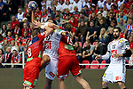 12.01.2018., Croatia, Zatika Sports Hall, Porec - European Handball Championship, Group B, 1st Round, France - Norway. Bjarte Myrhol, Timothey N'Guessan, Kent Robin Tonnesen. <br /> <br /> Foto &copy; nordphoto / Igor Kralj/PIXSELL