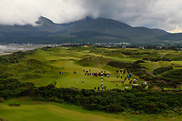 Play on the 3rd green during the Matchplay Final of the Women's Amateur Championship at Royal County Down Golf Club in Newcastle Co. Down on Saturday 15th June 2019.<br /> Picture:  Thos Caffrey / www.golffile.ie<br /> <br /> All photos usage must carry mandatory copyright credit (© Golffile | Thos Caffrey)