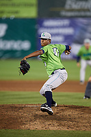 Lynchburg Hillcats relief pitcher Luis Jimenez (41) delivers a pitch during a game against the Salem Red Sox on May 10, 2018 at Haley Toyota Field in Salem, Virginia.  Lynchburg defeated Salem 11-5.  (Mike Janes/Four Seam Images)