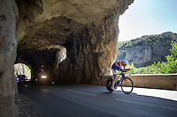 Tom Dumoulin (NLD/Giant-Alpecin) coming out of the tunnels onto the win<br /> <br /> stage 13 (ITT): Bourg-Saint-Andeol - Le Caverne de Pont (37.5km)<br /> 103rd Tour de France 2016