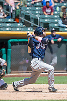 Mike Freeman (1) of the Reno Aces at bat against the Salt Lake Bees in Pacific Coast League action at Smith's Ballpark on May 10, 2015 in Salt Lake City, Utah.  Salt Lake defeated Reno 9-2 in Game One of the double-header. (Stephen Smith/Four Seam Images)