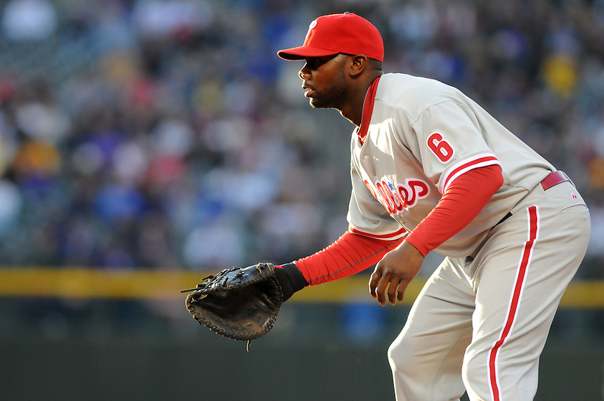 10 MAY 2010: Philadelphia Phillies first baseman Ryan Howard stands ready during a regular season Major League Baseball game between the Colorado Rockies and the Philadelphia Phillies at Coors Field in Denver, Colorado. *****For Editorial Use Only*****