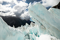 Large ice blocks on Franz Josef Glacier, Westland Tai Poutini National Park, West Coast, UNESCO World Heritage Area, New Zealand, NZ