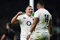 Joe Cokanasiga of England looks to celebrate his second half try with team-mate Sam Underhill. Quilter International match between England and Australia on November 24, 2018 at Twickenham Stadium in London, England. Photo by: Patrick Khachfe / Onside Images
