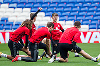 Ben Woodburn (centre) during Wales national team training ahead of the World Cup Qualification match against Republic of Ireland at Cardiff City Stadium, Cardiff, Wales on 8 October 2017. Photo by Mark  Hawkins.