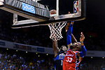 Robert Covington of 76ers (R) fights for the ball with Dorian Finney Smith of Dallas Mavericks (L) during the NBA China Games 2018 match between Dallas Mavericks and Philadelphia 76ers at Universiade Center on October 08 2018 in Shenzhen, China. Photo by Marcio Rodrigo Machado / Power Sport Images