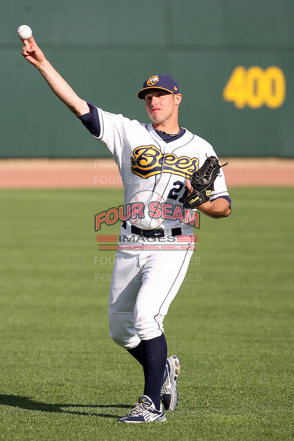 June 16th 2008:  Joe Augustine of the Burlington Bees, Class-A affiliate of the Kansas City Royals, during the Midwest League All-Star Home Run Derby at Dow Diamond in Midland, MI.  Photo by:  Mike Janes/Four Seam Images