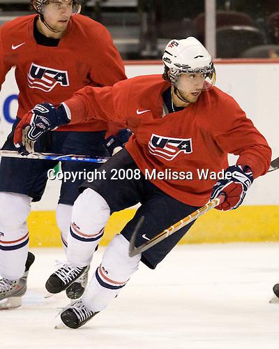 Eric Tangradi (USA - 25), Aaron Palushaj (USA - 7) - Team USA practiced Saturday morning, December 27, 2008, at the Scotiabank Place in Kanata (Ottawa), Ontario during the 2009 World Juniors Championship.