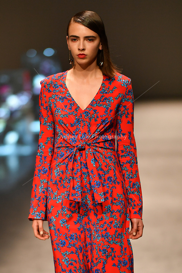 8 September 2017, Melbourne - A model wearing a design by Scanlan Theodore at the Closing Runway parade during the Melbourne Fashion Week in Melbourne, Australia. (Photo Sydney Low / asteriskimages.com)
