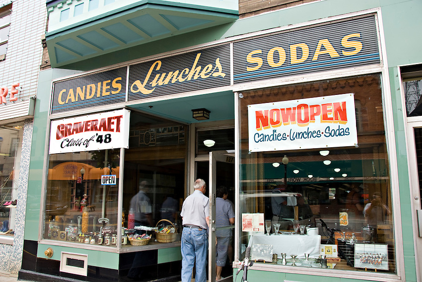 Activity outside a soda fountain store in downtown Marquette Michigan.