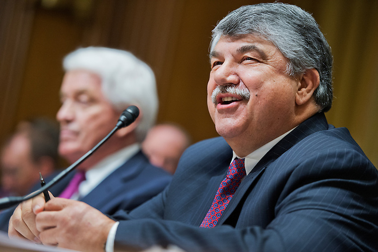 "UNITED STATES - APRIL 21: Richard Trumka, right, president of the AFL-CIO, and Thomas Donohue, president and CEO of the U.S. Chamber of Commerce, prepare to testify before a Senate Finance Committee hearing in Dirksen Building titled ""Congress and U.S. Tariff Policy,"" April 21, 2015. (Photo By Tom Williams/CQ Roll Call)"