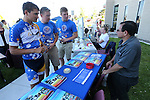 Riders, from left, Kade Campbell, Matthew Flemer and Jarrod Wagner talk with Daryl Frazetti during the Journey of Hope event at Western Nevada College in Carson City, Nev., on Friday, June 12, 2015. Nearly 30 cyclist rode into town Friday as part of the Pi Kappa Phi fraternity&rsquo;s cross-country ride to bring awareness and support to people with disabilities.<br /> Photo by Cathleen Allison/Nevada Photo Source