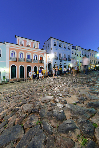 Brazil, Bahia, Salvador, Pelourinho: The triangular plaza Largo do Pelourinho within Salvador de Bahia's beautifully restored historic center of Pelourinho. --- Info: The district Pelourinho was built by the Portuguese in the 18th and 19th century as a residential and administrative center. Neglected for a greater part of the 20th century, Pelourinho received in 1985 the status as a UNESCO World Heritage Site. Restored it is today the crown jewel of Salvador. --- No signed releases available.