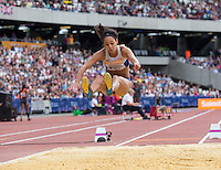 Katrina JOHNSON-THOMPSON of GBR (Women's Long Jump) during the Long Jump during the Sainsbury's Anniversary Games, Athletics event at the Olympic Park, London, England on 25 July 2015. Photo by Andy Rowland.