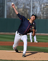 Cedar Rapids Kernels starting pitcher Josh Winder (47) throws a pitch against the Burlington Bees at Veterans Memorial Stadium on April 13, 2019 in Cedar Rapids, Iowa.  Kernels won 2-1.  (Dennis Hubbard/Four Seam Images)