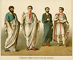ANCIENT ROME: Clothing worn by a Public  Orator; a Senator; a Citizen  and an Equestrian (rider).       Date: ANCIENT ROME